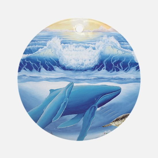 whale and turtle square Round Ornament