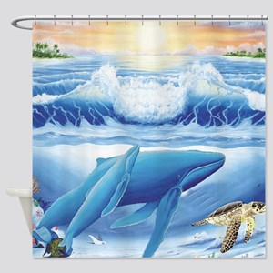 whale and turtle square Shower Curtain