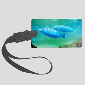 manatee friends 2 Large Luggage Tag