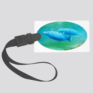 manatee friends oval 2 Large Luggage Tag