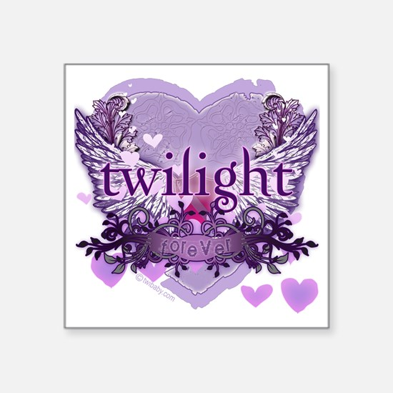 "twilight forever purple hea Square Sticker 3"" x 3"""