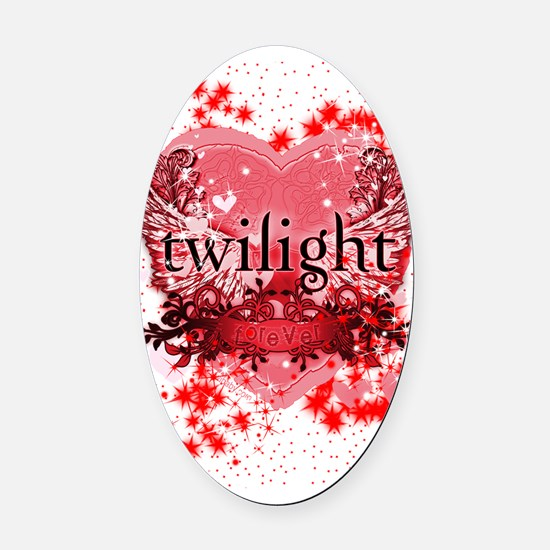 twilight red heart christmas stock Oval Car Magnet