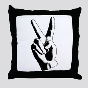 Hand Peace Sign Throw Pillow