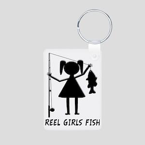 reel girls fish Aluminum Photo Keychain