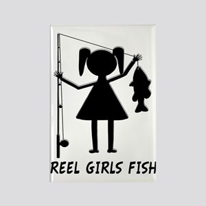 reel girls fish Rectangle Magnet
