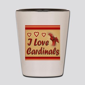 I Love Cardinals rect mag Shot Glass