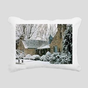 snow scene house christm Rectangular Canvas Pillow