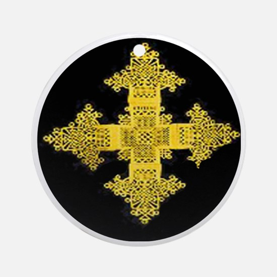 ethiopia cross performance jacket Round Ornament