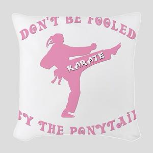 new karate Woven Throw Pillow
