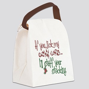 Lick my candy cane2 copy Canvas Lunch Bag