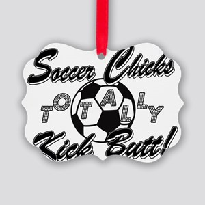 soccer chicks kick butt bw 4 lite Picture Ornament