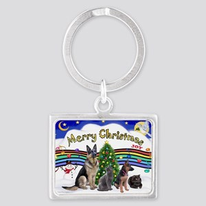 Xmas Music 1 - 2 dogs, 2 cats ( Landscape Keychain