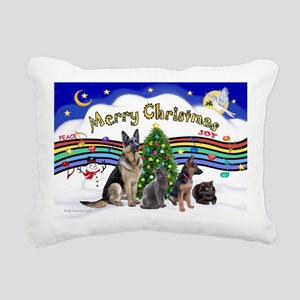 Xmas Music 1 - 2 dogs, 2 Rectangular Canvas Pillow