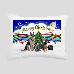 Xmas Music 1 - 2 dogs, 2 Rectangular Canvas Pillow