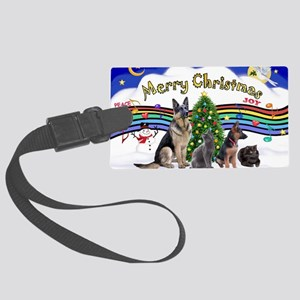 Xmas Music 1 - 2 dogs, 2 cats (J Large Luggage Tag