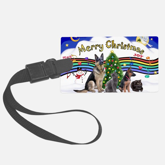 Xmas Music 1 - 2 dogs, 2 cats (J Luggage Tag