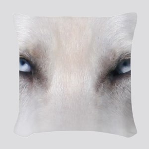 Blue_Eyes_Feathered_CP Woven Throw Pillow
