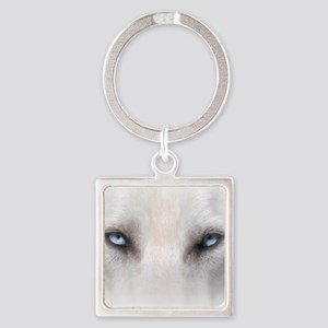 Blue_Eyes_Feathered_CP Square Keychain