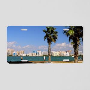 Palm Trees SarasotaFlorida4 Aluminum License Plate