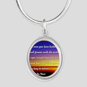 DaVincisquare Silver Oval Necklace
