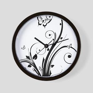swirly butterflies Wall Clock