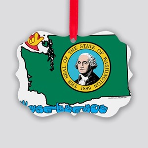 WAStateFlagILY Picture Ornament