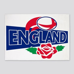 rugby ball england english rose 5'x7'Area Rug