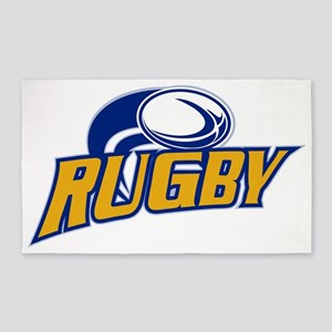 rugby ball flying 3'x5' Area Rug