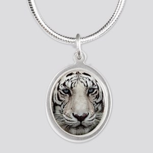 tiger1 Silver Oval Necklace