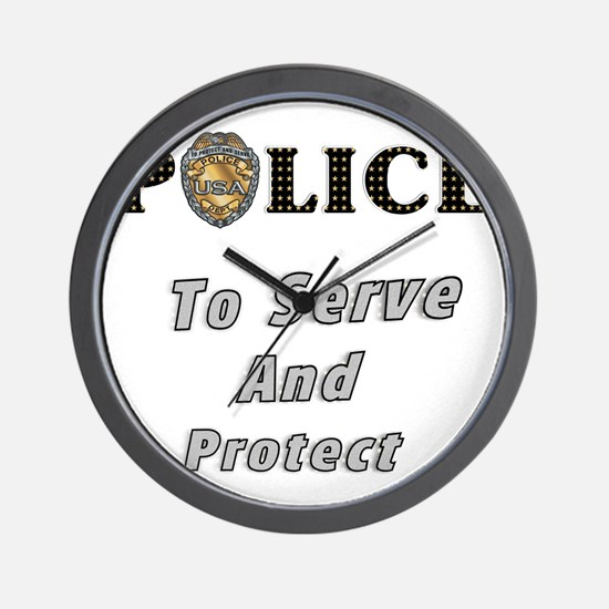 Police Serve and Protect Wall Clock