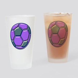 soccer glass bev purp blue Drinking Glass