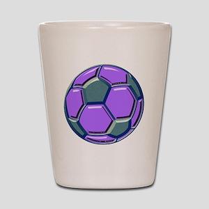 soccer glass bev purp blue Shot Glass