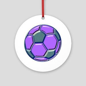 soccer glass bev purp blue Round Ornament