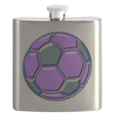 soccer glass bev purp blue Flask
