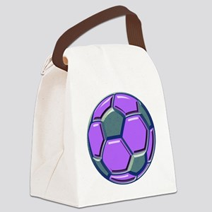 soccer glass bev purp blue Canvas Lunch Bag