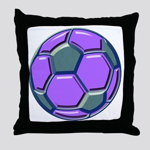 soccer glass bev purp blue Throw Pillow
