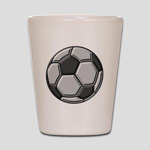 soccer art bevel greyscale 1 Shot Glass