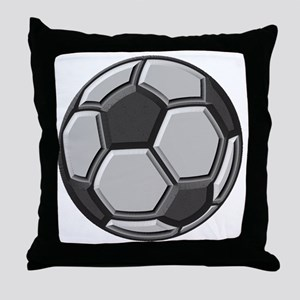 soccer art bevel greyscale 1 Throw Pillow