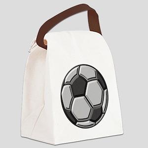 soccer art bevel greyscale 1 Canvas Lunch Bag