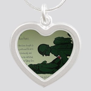 CombatMedicPrayer Silver Heart Necklace