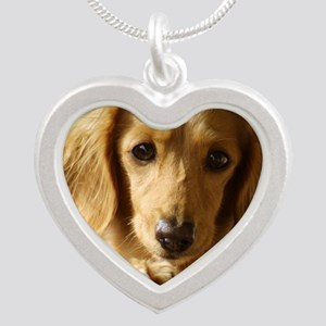 Dachshund 9L007D-15 Silver Heart Necklace