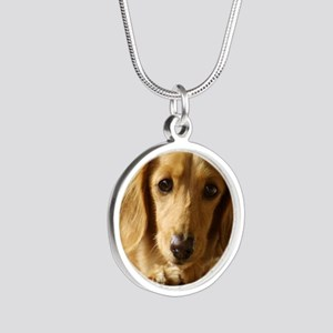 Dachshund 9L007D-15 Silver Round Necklace