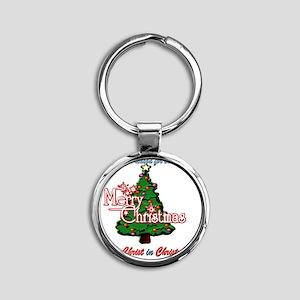 keep_christ_tee Round Keychain