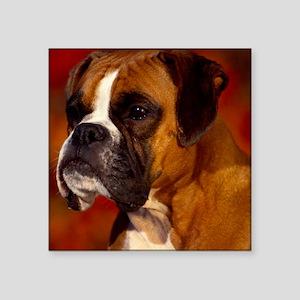 """Boxer red round ornament Square Sticker 3"""" x 3"""""""