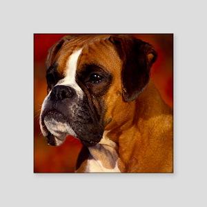 "Boxer red tile Square Sticker 3"" x 3"""