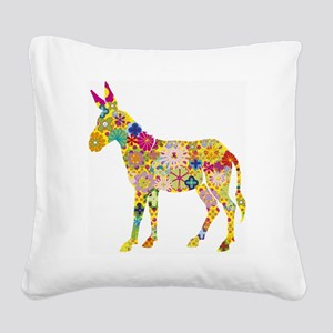 Flower Donkey Square Canvas Pillow