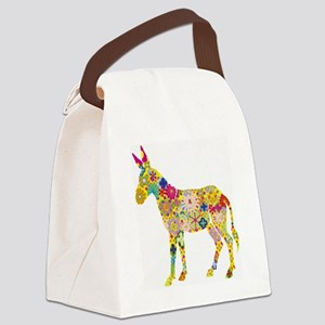 Flower Donkey Canvas Lunch Bag