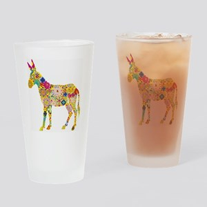 Flower Donkey Drinking Glass