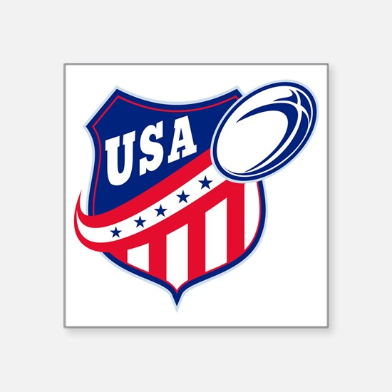 "merican rugby ball shield u Square Sticker 3"" x 3"""