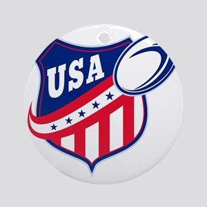 merican rugby ball shield usa Round Ornament